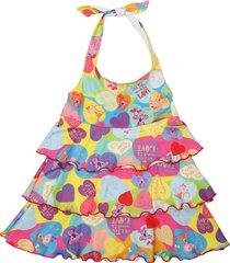 vestido multicolor cante pido volados corazones