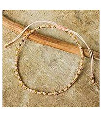 gold accent beaded bracelet, 'peach boho chic' (thailand)