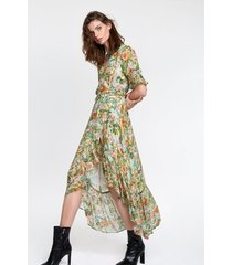 alix 203381575 ladies woven botanical wrap dress groen
