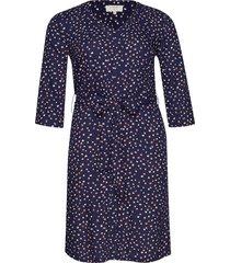 gemina tie dress jurk knielengte blauw cream