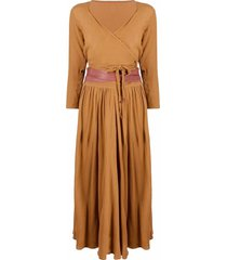 caravana ruched maxi skirt suit - brown