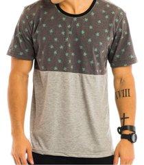camiseta masculina com recorte estampado coqueiros - area verde - multicolorido - masculino - dafiti