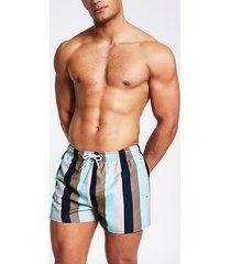 river island mens green stripe colour block swim shorts