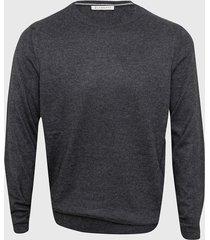 sweater gris la dolfina cuello redondo