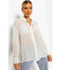 dobby mesh blouse met lange mouwen, white