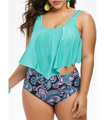 plus size ruffled paisley print tankini swimwear