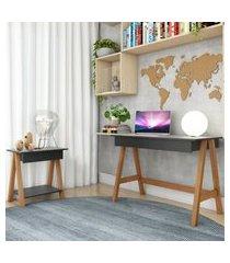 escrivaninha cavalete e mesa lateral cavalete amêndoa preto casah