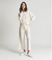 reiss lucy - loungewear zip neck hoodie in ivory, womens, size l