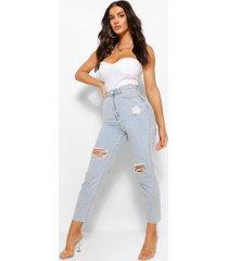 distressed jeans met rechte pijp en gescheurde knie, middenblauw