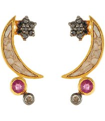 'kolar' black diamonds 18k gold vermeil resin stud earrings
