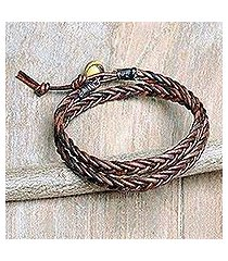 men's tiger's eye and leather wrap bracelet, 'double cinnamon' (thailand)