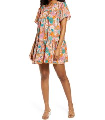 bb dakota by steve madden in retrospect floral shift dress, size small in multi at nordstrom