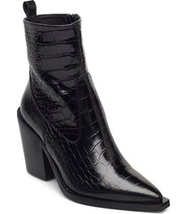 unni shoes boots ankle boots ankle boot - heel svart nude of scandinavia