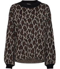 nigari knit o-neck gebreide trui bruin second female