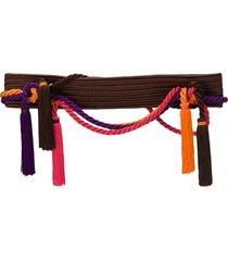 yves saint laurent pre-owned rope tassel belt - brown