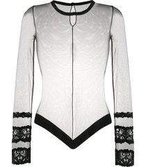 la perla sheer long-sleeve bodysuit - black