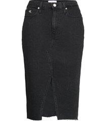 high rise midi skirt knälång kjol svart calvin klein jeans