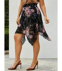 plus size floral print handkerchief skirt