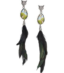 10k goldplated, feather, lucite, & crystal clip-on drop earrings