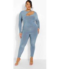 plus jumpsuit met uitsnijding en lange mouwen, slate blue