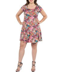 24seven comfort apparel women's plus size floral short sleeve casual dress