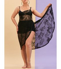 plus size butterfly floral lace beach wrap cover up dress