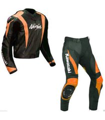 new ninja kawasaki leather suit jacket pants black orange ce pads all sizes mens
