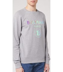 balmain men's hologram balmain sweatshirt - grey - xl