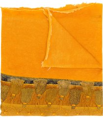avant toi embroidered draped scarf - yellow