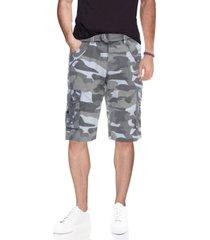 men's belted double pocket bermuda cargo shorts
