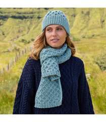 aqua cozy aran hat & scarf set