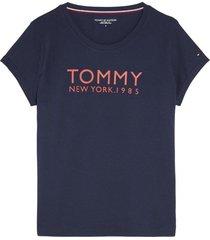 tommy hilfiger dames t-shirt met logo opdruk navy blazer