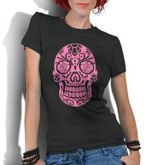 camiseta criativa urbana caveira mexicana rosa - feminino