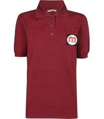 miu miu logo patch polo shirt