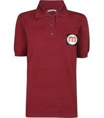 miu miu logo patch polo shirt
