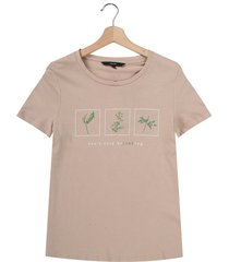 camiseta beige-multicolor vero moda