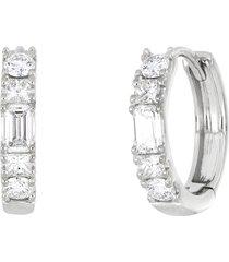 women's bony levy gatsby baguette diamond huggie hoop earrings