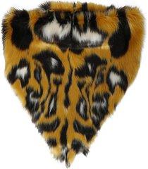 animal print fur scarf