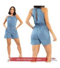 macaquinho jeans biotipo com ajuste na cintura e decote nas costas
