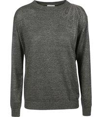 brunello cucinelli bead embellish ribbed sweater