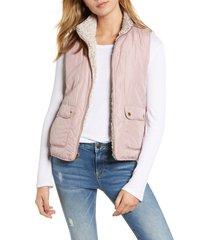 women's thread & supply reversible fleece lined quilted vest