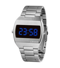 relógio digital lince masculino - mdm4621l dxsx prateado