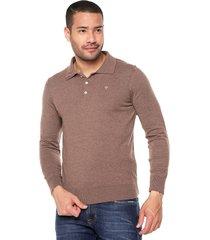 sweater café 109 preppy m/l tejido delgado cuello polo