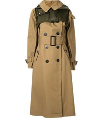 brown cotton double-breasted trench coat