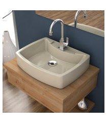 cuba de apoio para banheiro compace aria rt50w retangular bege