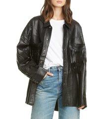 women's r13 fringe pocket leather shirt jacket, size one size - black