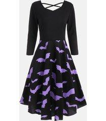 cross back bat print fit and flare dress