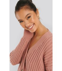 na-kd mohair blend chunky cropped cardigan - pink