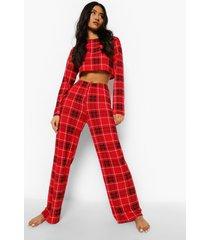petite geruite crop top met lange mouwen en broek pyjama set, red