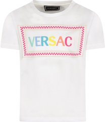 young versace white girl t-shirt with colorful logo